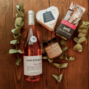pink wine and cheese hamper